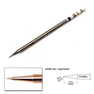T15-BLL Conical Soldering Tip R0.2 x 15mm