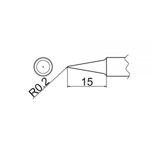 T20-BL Conical Soldering Tip R0.2mm x 15mm