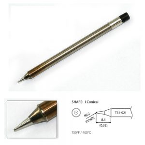 T31-02I Conical Soldering Tip R0.2 x 8.4mm 400°C