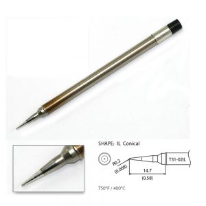 T31-02IL Conical Soldering Tip R0.2 x 14.7mm 400°C