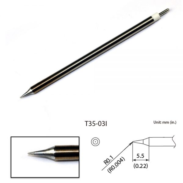 T35-02I Conical Micro Soldering Tip  R0.1 x 5.5mm 350°C