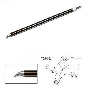 T35-02J Angled Micro Soldering Tip R0.1mm/40° x 2.9mm x 2.6mm 350°C